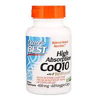 Коэнзим Q10 с высокой степенью поглощения, с биоперином, 400 мг, 60 растительных капсул, Doctor's Best, CoQ10