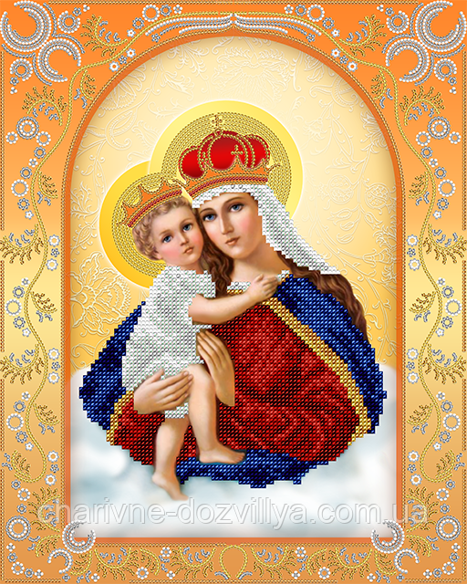 """Схема для вышивки бисером на атласе икона """"Богородица с младенцем"""""""