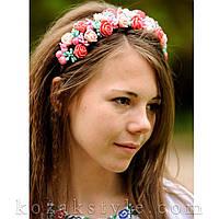 Обруч для волосся з квітами яскраво-рожевий