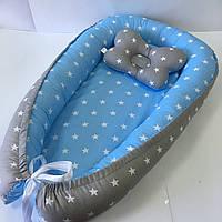 Кокон гнездышко для новорожденных Сладкий Сон с ортопедической подушкой Серый/голубой
