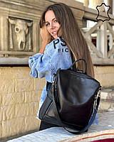 Черная женская сумка-рюкзак кожаная трансформер через плечо K4434, фото 1