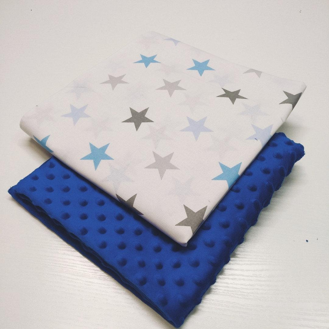 Отрез ткани: синий плюш точка и ранфорс большие голубые звезды 100х80