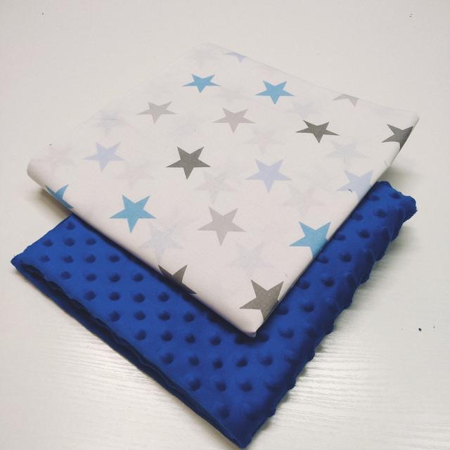 отрез ткани плюш синий и ранфорс звезды голубые