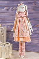 """Мягкая игрушка ручная работа зайка Лососево-оранжевый текстиль 43 см """"зая-мрійниця"""" одежда снимается"""