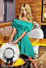Летнее женское свободное платье с открытыми плечами с узкой резинкой на поясе коттон стрейч