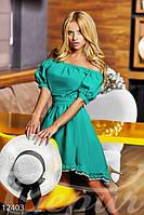 Летнее женское свободное платье с открытыми плечами с узкой резинкой на поясе коттон стрейч, фото 1