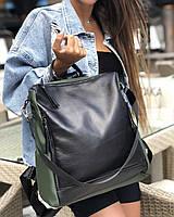 Сумка-рюкзак K4438 оливковая кожаная трансформер через плечо с черным