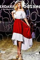 Эффектное женское асимметричное платье с рукавами фонариками приталенное коттон, фото 1