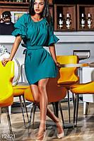 Летнее женское платье с оголенными плечами свободное на пояске коттоновое полотно , фото 1