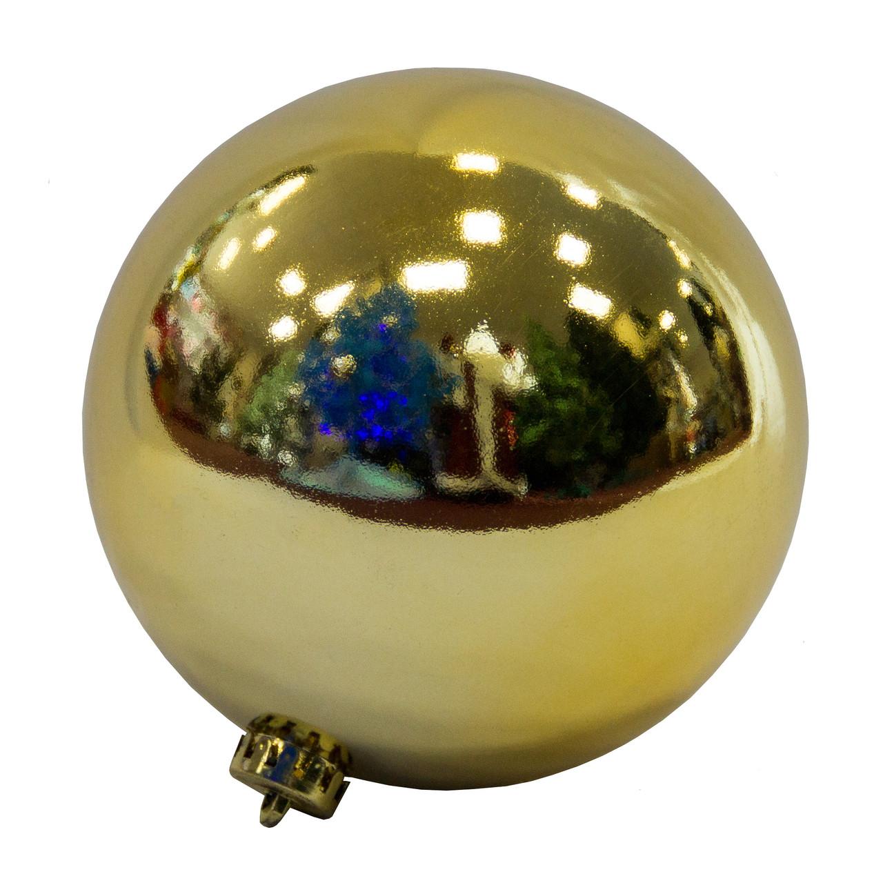Елочная игрушка - шар пластиковый глянцевый, d15 см, золотистый, пластик (033874)