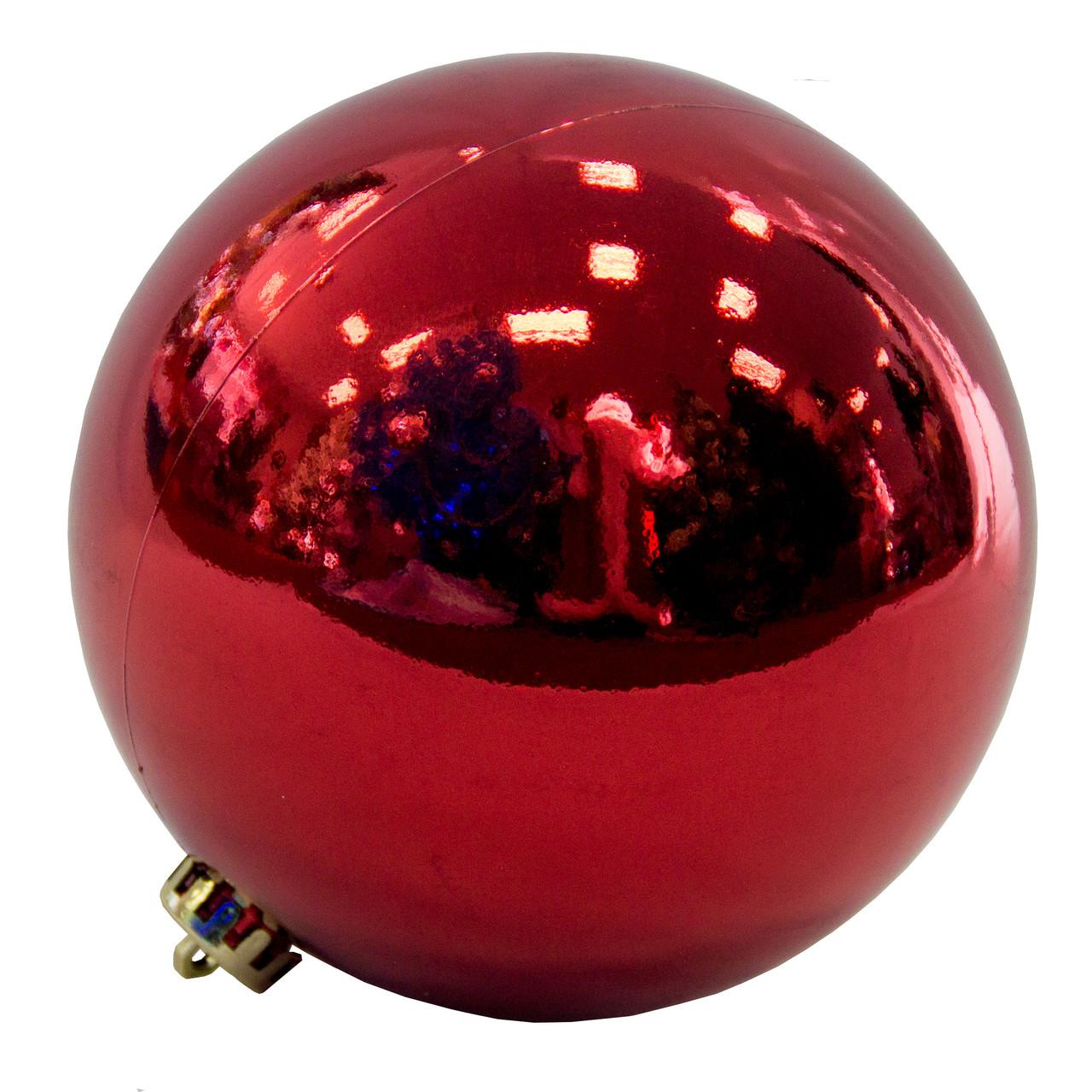 Елочная игрушка - шар, D15 см, красный, глянец, пластик (033881)