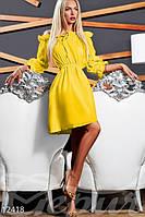 Женское летнее привлекательное платье с пышной юбкой до колен рукав фонарик коттон