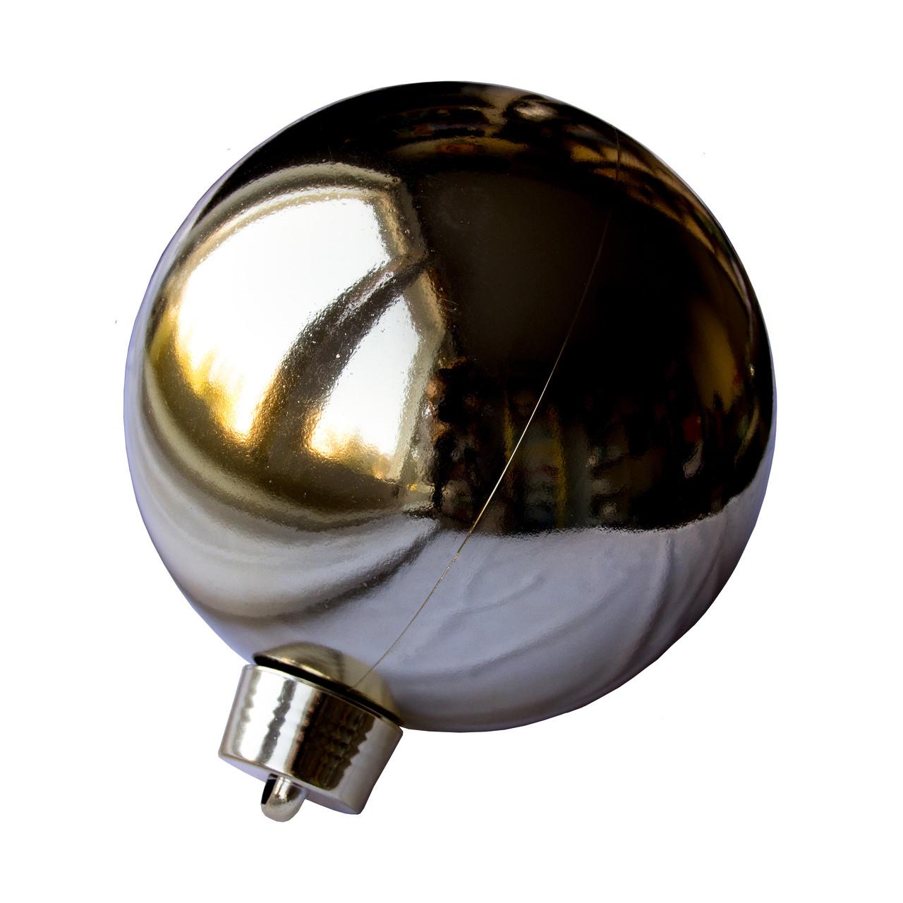 Большая елочная игрушка - шар, 20 см, пластик, золотистый (034017)