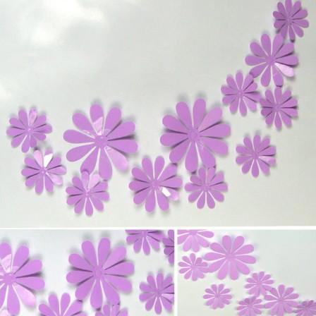 Набор лавандовых цветков - в наборе 12шт., пластик, есть 2-х сторонний скотч