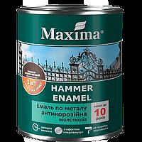 """Эмаль антикоррозийная по металлу с молотковым эффектом TM """"Maxima"""" черная - 2,5 кг."""