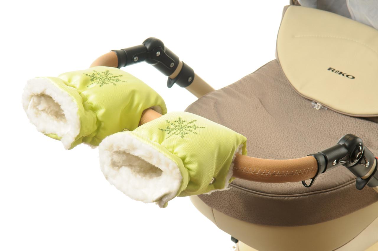 Рукавички-Муфта на коляску Ok Style Снежинка Лайм