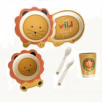 Детская бамбуковая посуда Львенок, набор из 5 предметов - 145863