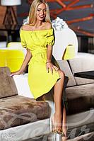 Женское летнее свободное платье до колен с оголенными плечами рукав короткий коттоновое полотно