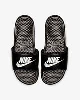 Nike Benassi Оригинальные черные Шлепанцы Тапочки вьетнамки большие размеры 343880-090, фото 1