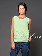 Блуза прямая шифоновая салатовый, фото 1
