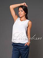 Блуза прямая шифоновая белый, фото 1