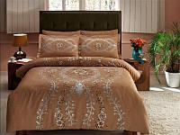 Комплект постельного белья ТАС Louvre kahve сатин де люкс 220-200 см