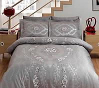 Светло-серый комплект постельного белья из сатина Люкс