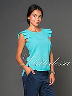 Блуза с крылышками бирюзовая