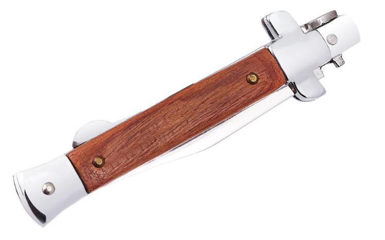 Нож складной с металлической и деревянной рукояткой, коричневый, нержавеющая сталь, с типом замка back lock