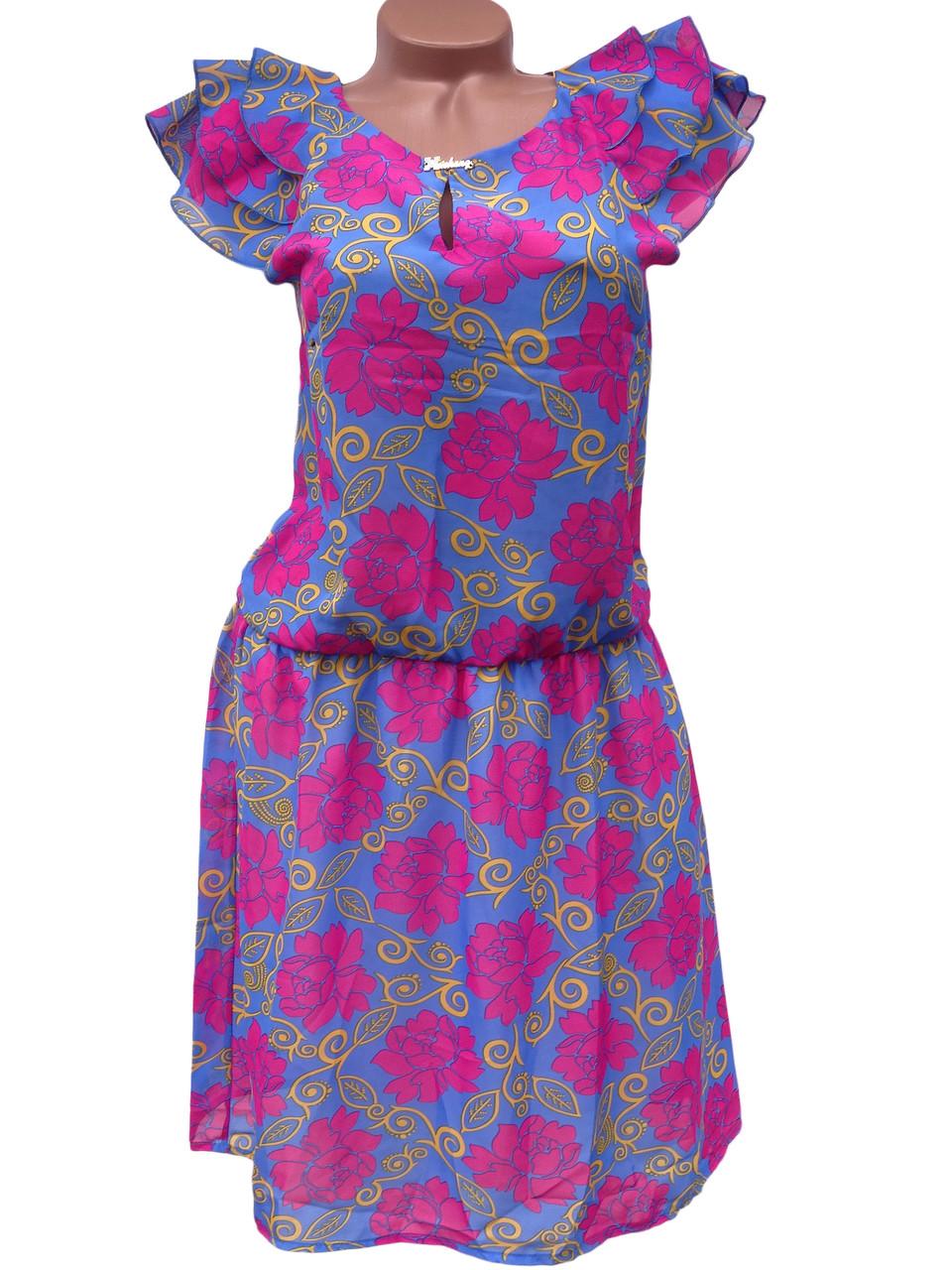 Шифоновое платье в крупные цветы 42р