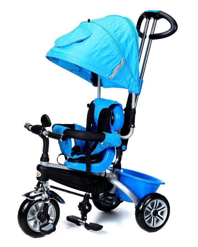 Велосипед-коляска детский трёхколесная PATY BIKE PLUS с ручкой багажником козырьком ремни(синий)