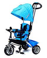 Велосипед-коляска детский трёхколесная PATY BIKE PLUS с ручкой, багажником, козырьком, ремни(синий)