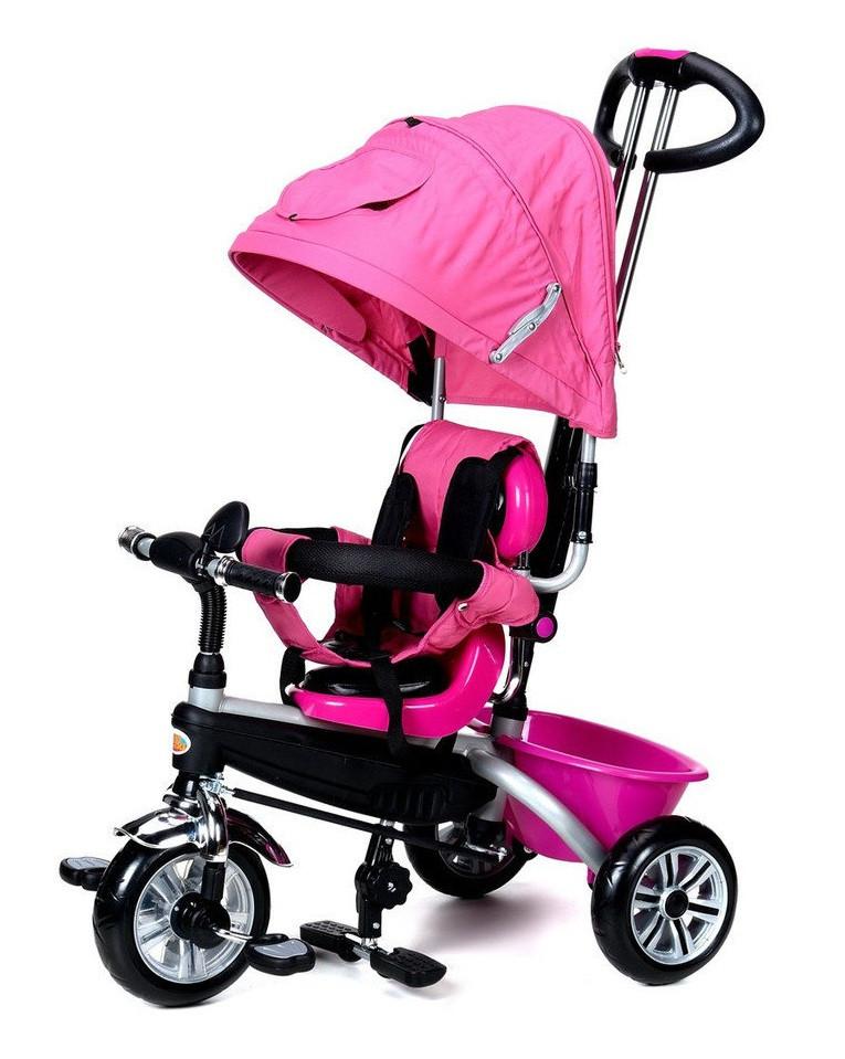 Велосипед-коляска детский трёхколесная PATY BIKE PLUS с ручкой багажникомкозырьком ремни(розовый)