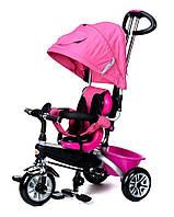 Велосипед-коляска дитячий триколісний PATY BIKE PLUS з ручкою, багажником,козирком, ремені(рожевий), фото 1