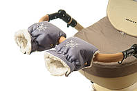 Рукавички-Муфта на коляску Ok Style Снежинка Серый блестящий, фото 1