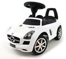 Машинка каталка детская MERCEDES SLS AMG с музыкой Белая (каталка-толокар)