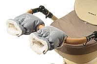 Рукавички-Муфта на коляску Ok Style Снежинка Серый, фото 1