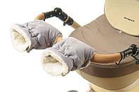 Рукавички-Муфта на коляску Ok Style Снежинка Светло серый, фото 1