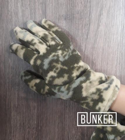 Зимние перчатки флисовые в расцветке пиксель ММ-14