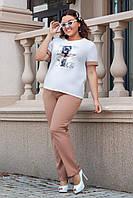 Летний женский костюм: футболка с рисунком и брюки свободного кроя, норма и полубатал большие размеры