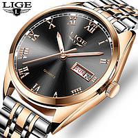 Мужские брендовые классические часы Lige