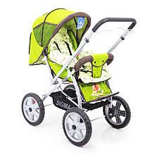Детская прогулочная коляска с перекидной ручкой книжка Sigma H-225F зеленый