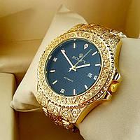 Винтажные часы Rolex А126 (Ролекс) с гравировкой на металлическом браслете золото, черный циферблат с датой