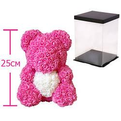 Мишка из роз c сердцем, 25 см KS Bear Flowers KS B1 Pink - 148566