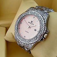 Винтажные часы Rolex А126 (Ролекс) с гравировкой на металлическом браслете серебро, розовый циферблат с датой