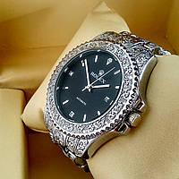 Винтажные часы Rolex А126 (Ролекс) с гравировкой на металлическом браслете серебро, черный циферблат с датой