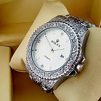 Винтажные часы Rolex А126 (Ролекс) с гравировкой на металлическом браслете серебро, белый циферблат с датой
