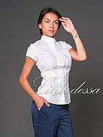 Рубашка с воротником-стойкой белый, фото 1