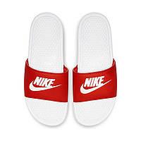 Nike Benassi Оригинальные оранжевые белые шлепанцы тапочки вьетнамки большие размеры 343880-090, фото 1