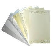 Визитка металлическая для сублимации ( цвет золото, серебро, и с орнаментом)  размер 8,6*5,4 см